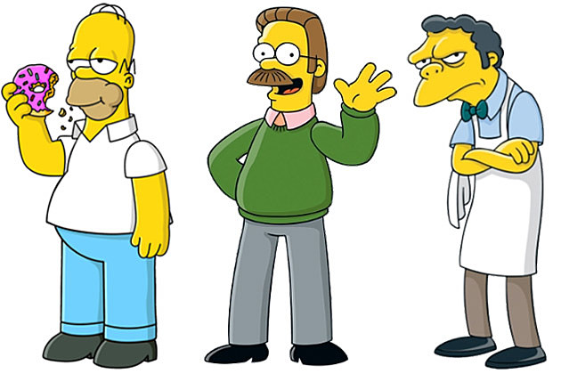 Homer Simpson Ned Flanders Moe Szyslak