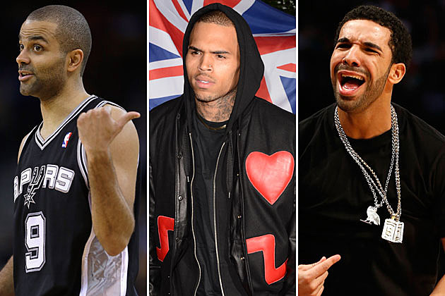 Tony Parker, Chris Brown, and Drake