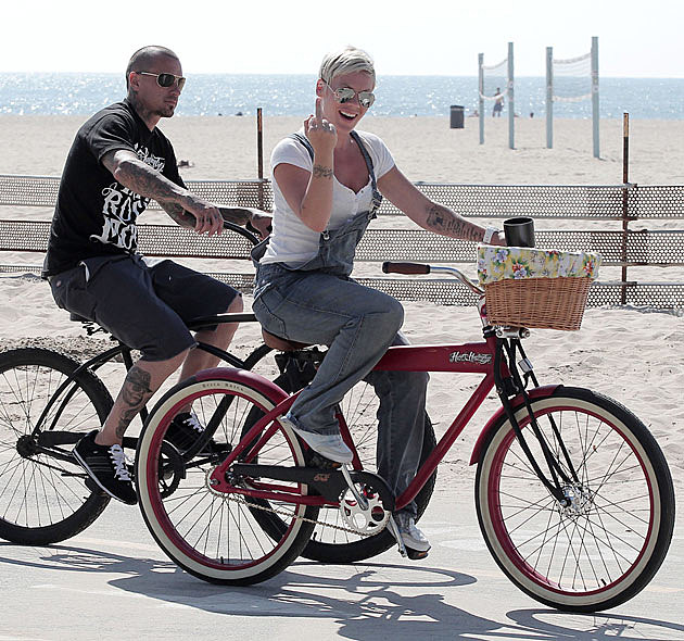 Pink Carey Hart Bike Ride