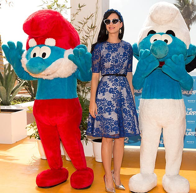 Katy Perry Monique Lhuillier Smurfs