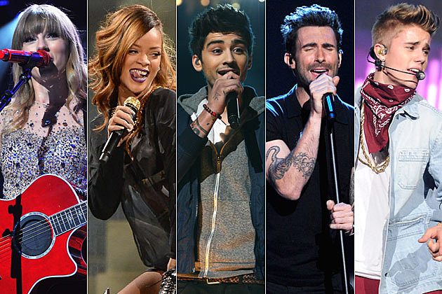 Taylor Swift Rihanna One Direction Adam Levine Justin Bieber