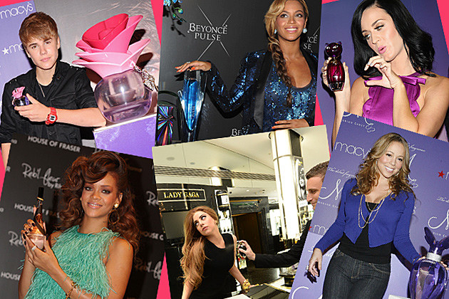 Beyonce, Justin Bieber, Mariah Carey, Lady Gaga, Katy Perry, and Rihanna posing with their fragrances.