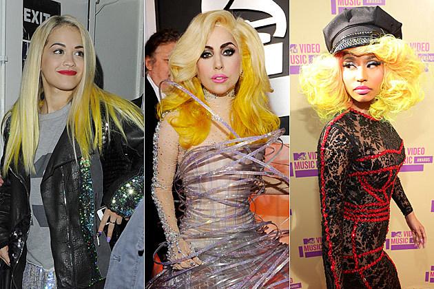 Rita Ora Hair Singer Dyes Her Blue Hair Yellow: Rita Ora Vs. Lady Gaga Vs. Nicki Minaj: Who Looks Best