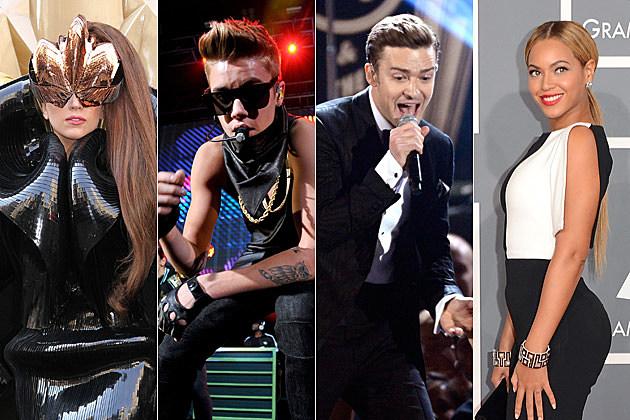 Lady Gaga Justin Bieber Justin Timberlake Beyonce