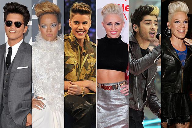 Bruno Mars Rihanna Justin Bieber Miley Cyrus Zayn Malik Pink