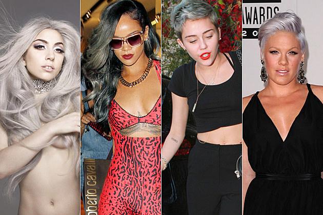 Lady Gaga Rihanna Miley Cyrus Pink Gray Hair