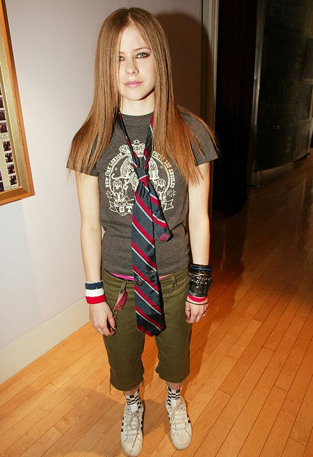 Bracelets, camo pants and neckties were brought into style by Avril Lavigne.