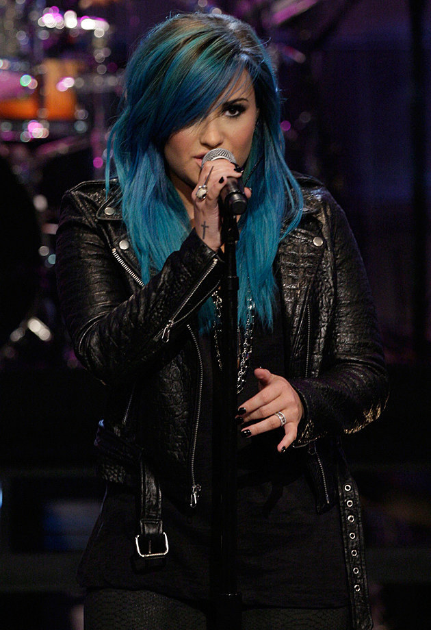 THE TONIGHT SHOW WITH JAY LENO -- Episode 4541-- Pictured: Musical guest Demi Lovato performs on October 2, 2013 -- (Photo by: Stacie McChesney/NBC/NBCU Photo Bank via Getty Images)