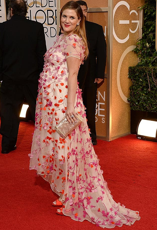 Drew Barrymore Monique Lhuillier at 2014 Golden Globes