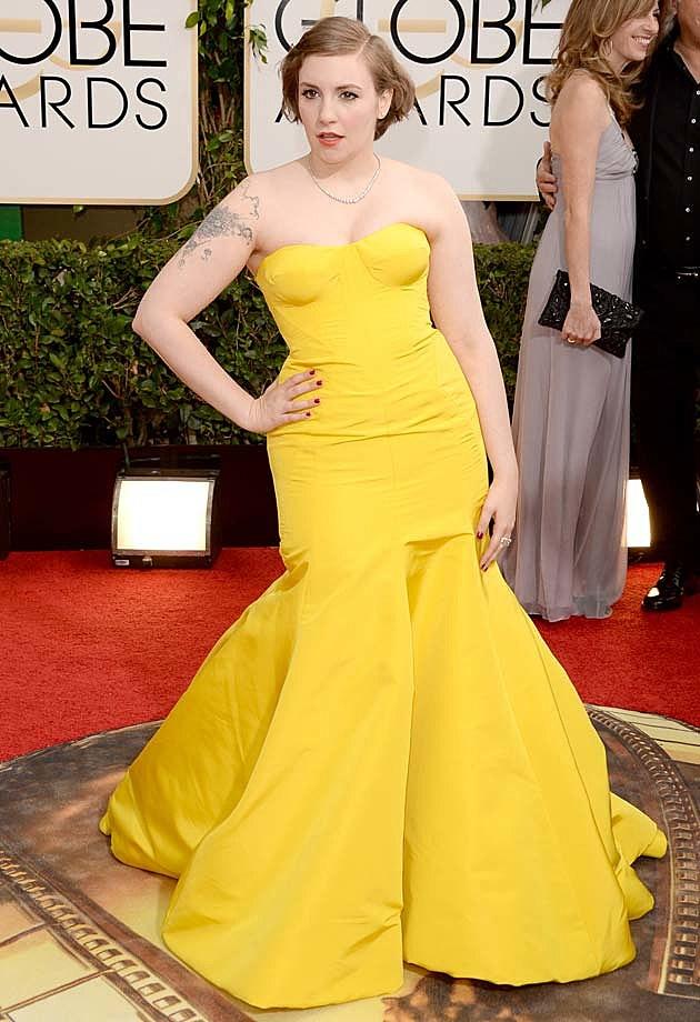 Lena Dunham 2014 Golden Globes Zac Posen