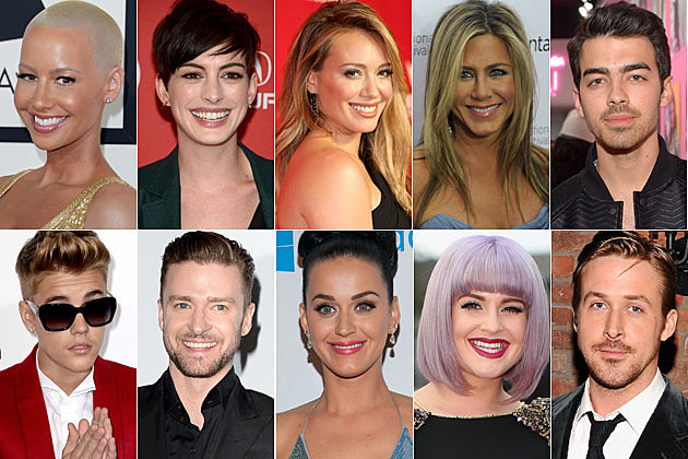 Amber Rose Anne Hathaway Hillary Duff Jennifer Aniston Joe Jonas Justin Bieber Justin Timberlake Katy Perry Kelly Osbourne Ryan Gosling