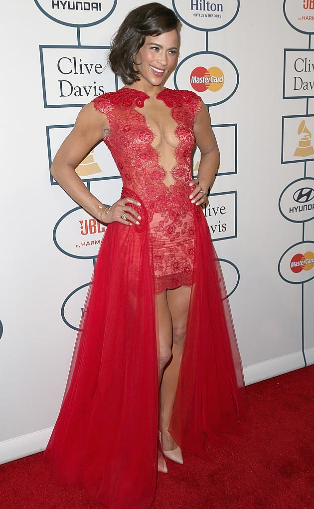 Paula Patton Mireille Dagher Dress Clive Davis Grammy Party