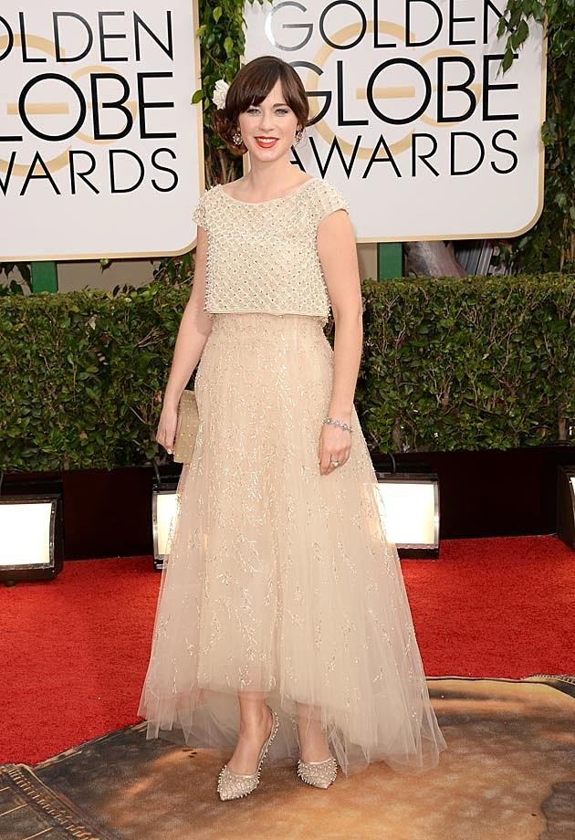 Zooey Deschanel Oscar de la Renta Tulle 2014 Golden Globes