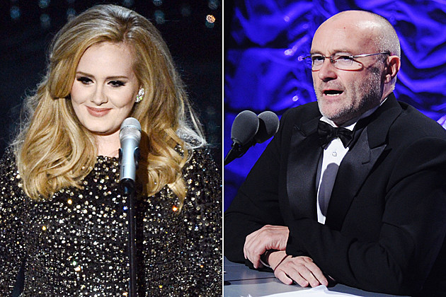 Adele Phil Collins HOLLYWOOD, CA - FEBRUARY 24: Singer Adele performs onstage during the Oscars held at the Dolby Theatre on February 24, 2013 in Hollywood, California. (Photo by Kevin Winter/Getty Images) / NEW YORK - JUNE 17: Singer/songwriter Phil Collins attends the 41st annual Songwriters Hall of Fame at The New York Marriott Marquis on June 17, 2010 in New York City. (Photo by Stephen Lovekin/Getty Images)