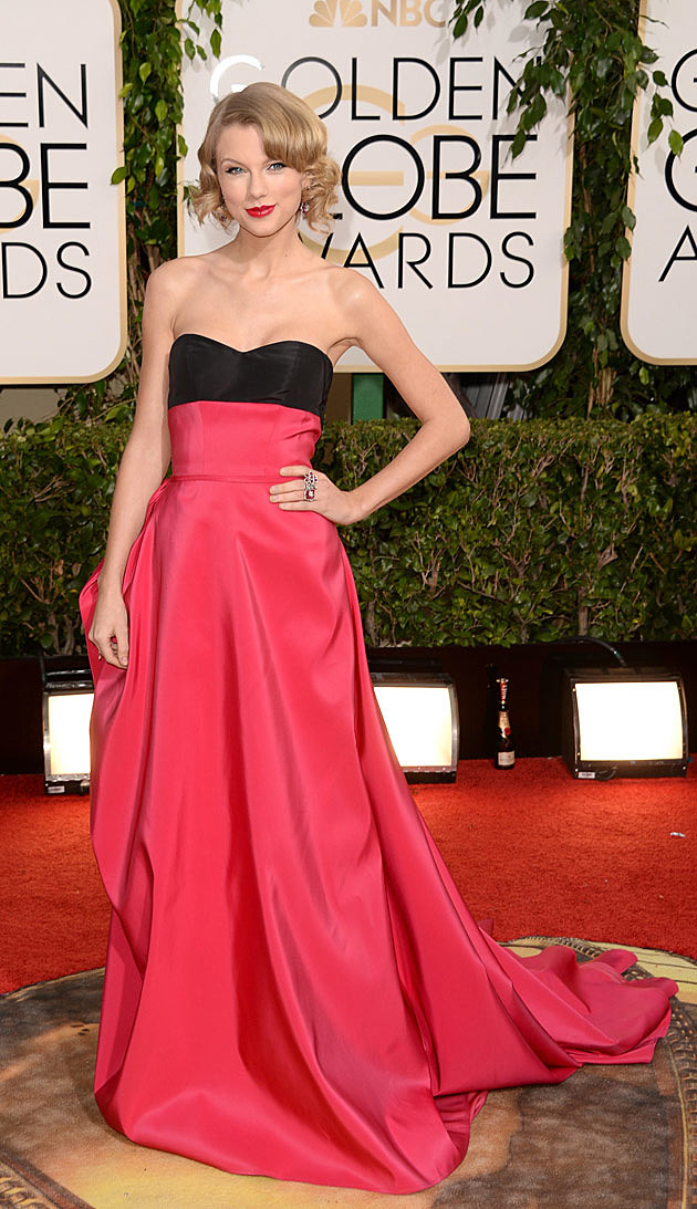Taylor swift rocks a strapless dress on the 2014 golden globes red