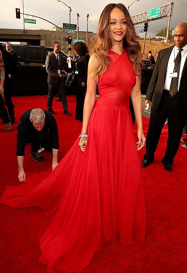 Rihanna Alaia 2013 Grammys Red Carpet