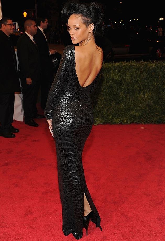 Rihanna Croc Tom Ford Red Carpet 2012 Met Back