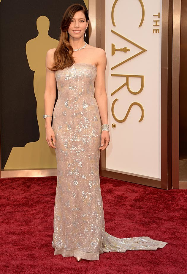 jessica biel shines in chanel dress at 2014 oscars photos