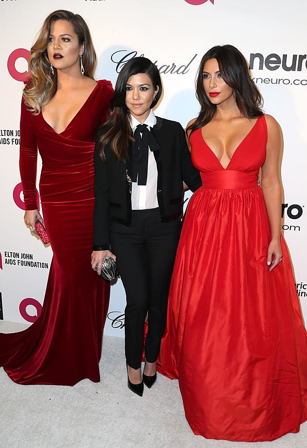 Khloe Kourtney Kim Kardashian Elton John Oscar Party 2014