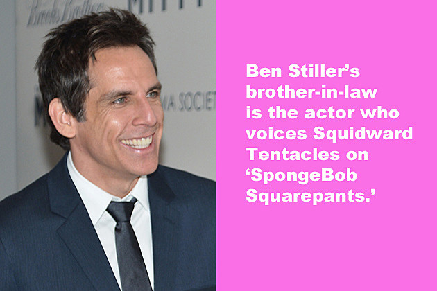Ben Stiller's brother-in-law is the actor who voices Squidward Tentacles on 'Spongebob Squarepants.'