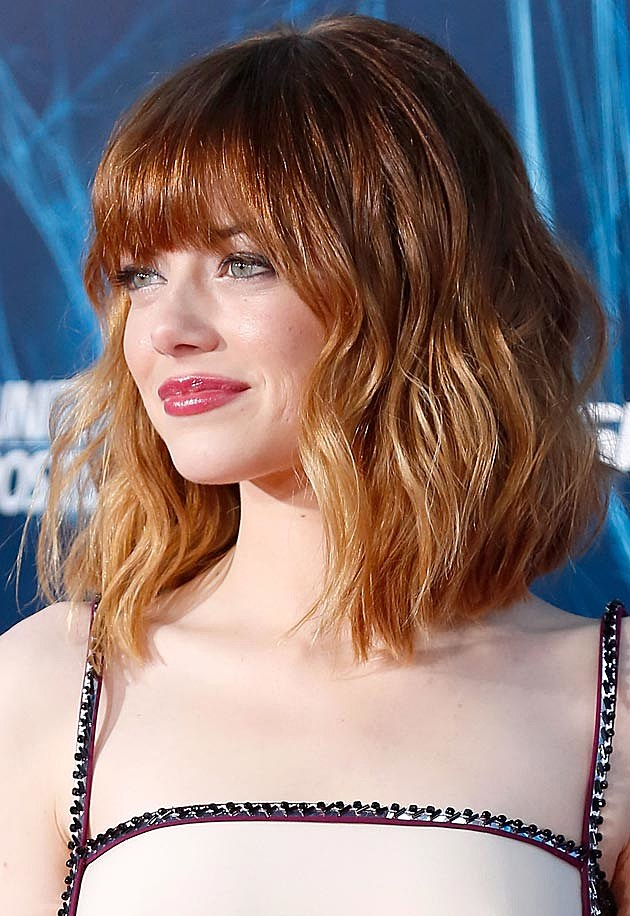 emma watson short hairstyles : Emma Stone Gets Bangs + Goes Ombre [PHOTOS]