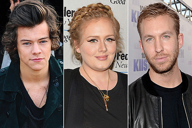 Harry Styles, Adele and Calvin Harris