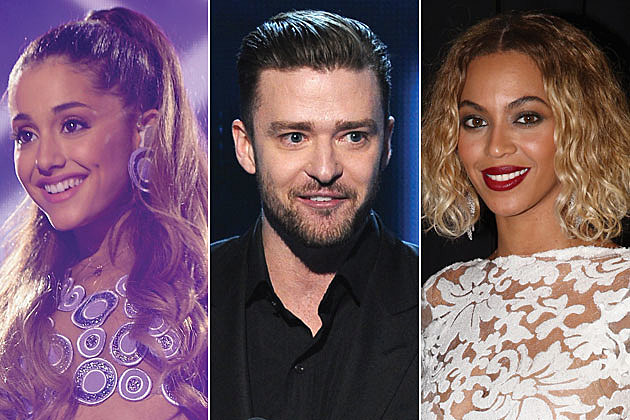 Ariana Grande, Justin Timberlake and Beyonce