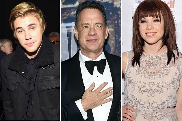 Justin Bieber Tom Hanks Carly Rae Jepsen