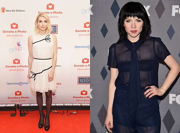 emma roberts cream dress + carly rae jepsen navy sheer dress