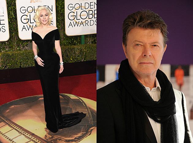 lady gaga black gown + david bowie black scarf