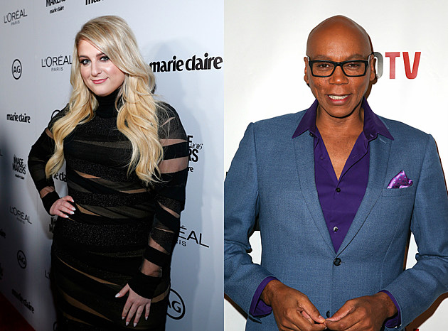meghan trainor black dress + rupaul blue suit