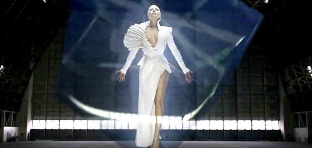 lady gaga white gown levitating