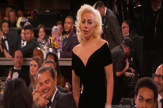 leonardo dicaprio laughing at lady gaga