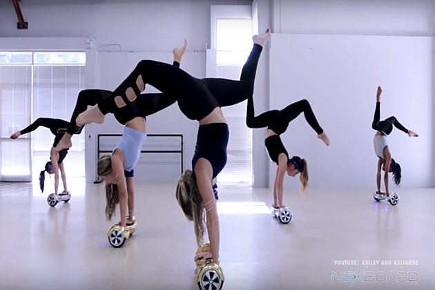 female acrobats on hoverboards