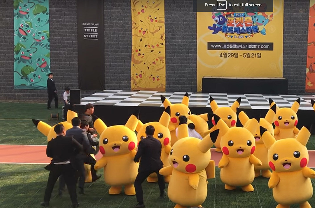 This giant Pikachu doesn't stop dancing even if its falling