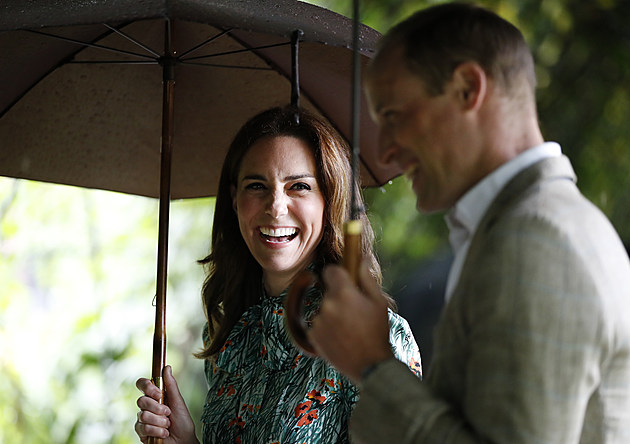 The Duke And Duchess Of Cambridge And Prince Harry Visit The White Garden In Kensington Palace