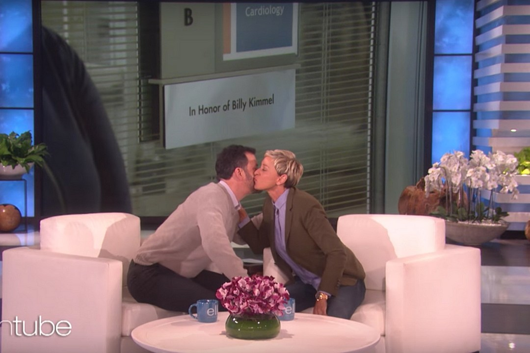See Ellen DeGeneres Surprise Jimmy Kimmel With a Touching Gift
