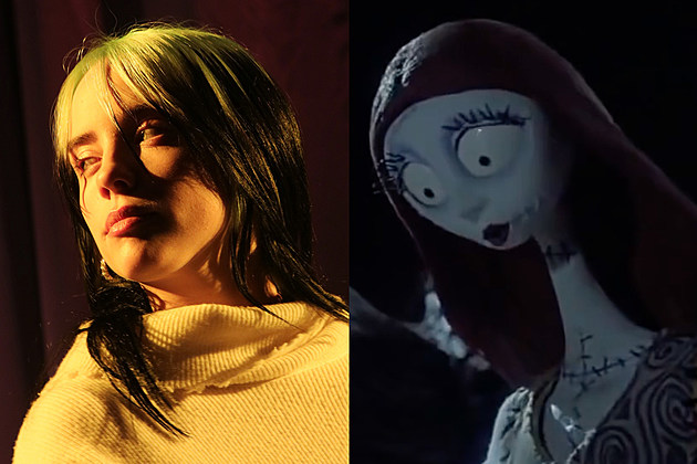 A composite image of Billie Eilish and Sally from the Nightmare Before Christmas